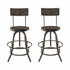 Modway Procure Bar Stool Pine Wood and Iron Set of 2 in Black MY-EEI-1605-BLK-SET