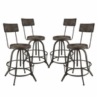Modway Procure Bar Stool Pine Wood and Iron Set of 4 in Black MY-EEI-1609-BLK-SET