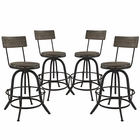 Modway Procure Bar Stool Pine Wood and Iron Set of 4 in Brown MY-EEI-1609-BRN-SET
