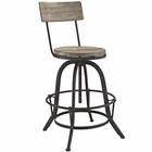 Modway Procure Pine Wood and Iron Bar Stool in Brown MY-EEI-1212-BRN