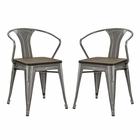Modway Promenade Bamboo Dining Chairs Steel Set of 2 in Gunmetal MY-EEI-2755-GME-SET