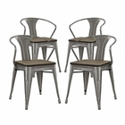 Modway Promenade Bamboo Dining Chairs Steel Set of 4 in Gunmetal MY-EEI-2756-GME-SET