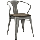 Modway Promenade Bamboo Steel Dining Chair in Gunmetal MY-EEI-2030-GME