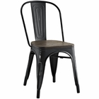 Modway Promenade Bamboo Steel Dining Side Chair in Black MY-EEI-2028-BLK