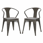 Modway Promenade Dining Chairs Steel Set of 2 in Brown MY-EEI-2754-BRN-SET