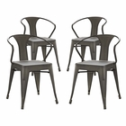 Modway Promenade Dining Chairs Steel Set of 4 in Brown MY-EEI-2753-BRN-SET