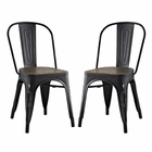 Modway Promenade Dining Side Chairs Steel Set of 2 in Black MY-EEI-2751-BLK-SET