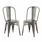 Modway Promenade Dining Side Chairs Steel Set of 2 in Gunmetal MY-EEI-2749-GME-SET
