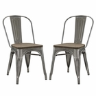 Modway Promenade Dining Side Chairs Steel Set of 2 in GunMetal MY-EEI-2751-GME-SET