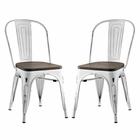 Modway Promenade Dining Side Chairs Steel Set of 2 in White MY-EEI-2751-WHI-SET