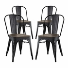 Modway Promenade Dining Side Chairs Steel Set of 4 in Black MY-EEI-2752-BLK-SET