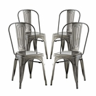 Modway Promenade Dining Side Chairs Steel Set of 4 in Gunmetal MY-EEI-2750-GME-SET