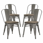 Modway Promenade Dining Side Chairs Steel Set of 4 in GunMetal MY-EEI-2752-GME-SET