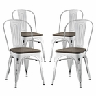 Modway Promenade Dining Side Chairs Steel Set of 4 in White MY-EEI-2752-WHI-SET