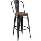Modway Promenade Steel Metal Bar Stool in Black MY-EEI-2814-BLK