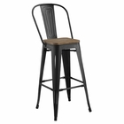 Modway Promenade Steel Metal Bar Stool in Black MY-EEI-2816-BLK