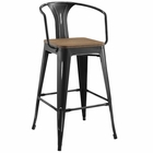 Modway Promenade Steel Metal Bar Stool in Black MY-EEI-2818-BLK