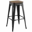 Modway Promenade Steel Metal Bar Stool in Black MY-EEI-2819-BLK