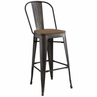 Modway Promenade Steel Metal Bar Stool in Brown MY-EEI-2814-BRN