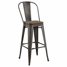 Modway Promenade Steel Metal Bar Stool in Brown MY-EEI-2816-BRN