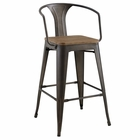 Modway Promenade Steel Metal Bar Stool in Brown MY-EEI-2818-BRN