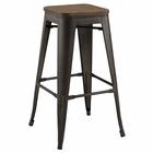 Modway Promenade Steel Metal Bar Stool in Brown MY-EEI-2819-BRN