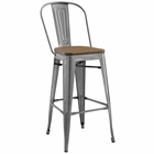 Modway Promenade Steel Metal Bar Stool in Gunmetal MY-EEI-2814-GME