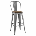Modway Promenade Steel Metal Bar Stool in Gunmetal MY-EEI-2816-GME