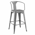 Modway Promenade Steel Metal Bar Stool in Gunmetal MY-EEI-2817-GME