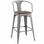Modway Promenade Steel Metal Bar Stool in Gunmetal MY-EEI-2818-GME