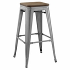 Modway Promenade Steel Metal Bar Stool in Gunmetal MY-EEI-2819-GME