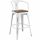 Modway Promenade Steel Metal Bar Stool in White MY-EEI-2818-WHI