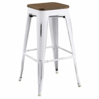 Modway Promenade Steel Metal Bar Stool in White MY-EEI-2819-WHI