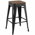 Modway Promenade Steel Metal Counter Stool in Black MY-EEI-2820-BLK
