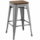 Modway Promenade Steel Metal Counter Stool in Gunmetal MY-EEI-2820-GME