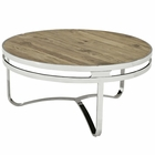 Modway Provision Pine Wood and Stainless Steel Coffee Table in Brown MY-EEI-1213-BRN