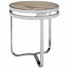 Modway Provision Pine Wood and Stainless Steel Side Table in Brown MY-EEI-1214-BRN