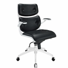 Modway Push Mid Back Faux Leather Office Chair in Black MY-EEI-1062-BLK