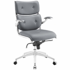 Modway Push Mid Back Faux Leather Office Chair in Gray MY-EEI-1062-GRY