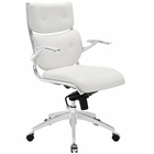 Modway Push Mid Back Faux Leather Office Chair in White MY-EEI-1062-WHI