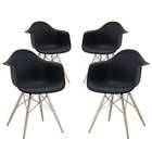 Modway Pyramid Dining Armchair Set of 4 in Black MY-EEI-1257-BLK