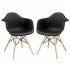 Modway Pyramid Dining Armchairs Set of 2 in Black MY-EEI-929-BLK