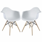 Modway Pyramid Dining Armchairs Set of 2 in White MY-EEI-929-WHI