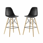 Modway Pyramid Dining Side Bar Stools Set of 2 in Black MY-EEI-2422-BLK-SET