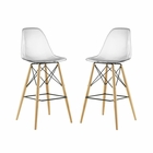 Modway Pyramid Dining Side Bar Stools Set of 2 in Clear MY-EEI-2422-CLR-SET