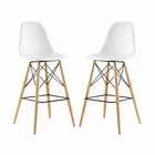 Modway Pyramid Dining Side Bar Stools Set of 2 in White MY-EEI-2422-WHI-SET
