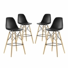 Modway Pyramid Dining Side Bar Stools Set of 4 in Black MY-EEI-2423-BLK-SET