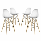 Modway Pyramid Dining Side Bar Stools Set of 4 in Clear MY-EEI-2423-CLR-SET
