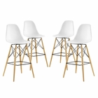 Modway Pyramid Dining Side Bar Stools Set of 4 in White MY-EEI-2423-WHI-SET