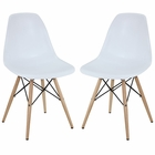 Modway Pyramid Dining Side Chairs Set of 2 in White MY-EEI-928-WHI